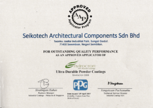 Certificate of Approval by PPG Coating