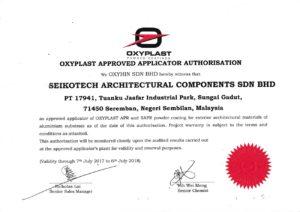 Certificate of Approval by Oxyplast